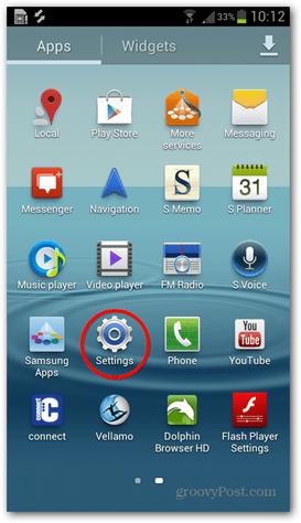 android main menu settings