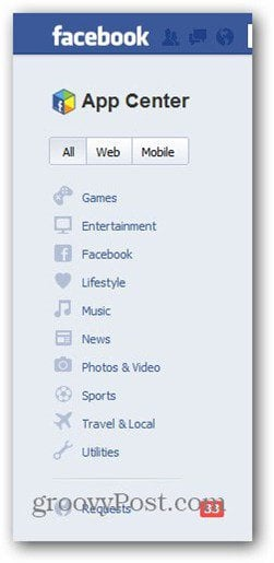 facebook app center categories
