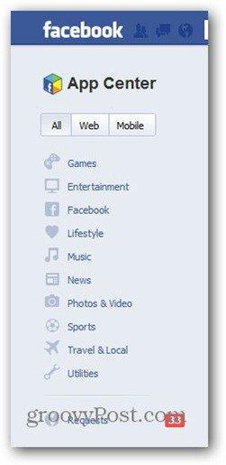 facebook app center categories