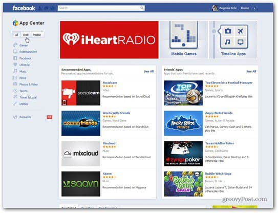 facebook app center main