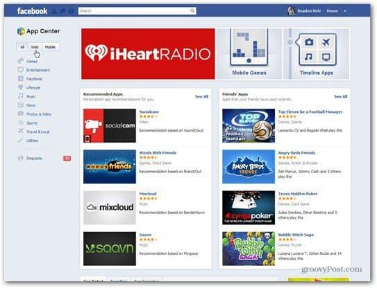 facebook app center main