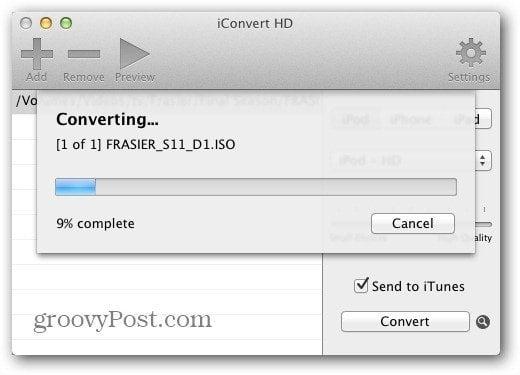 iConvert HD Progress