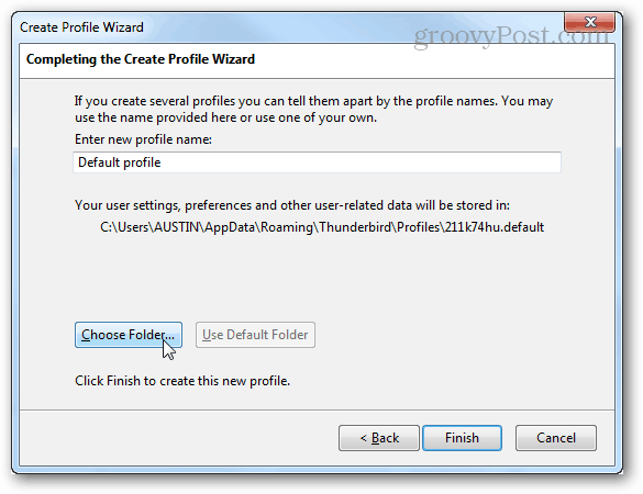 choose folder in profile creation wizard
