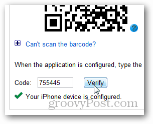 type in the code and click verify