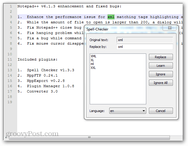 spell checker in notepad++