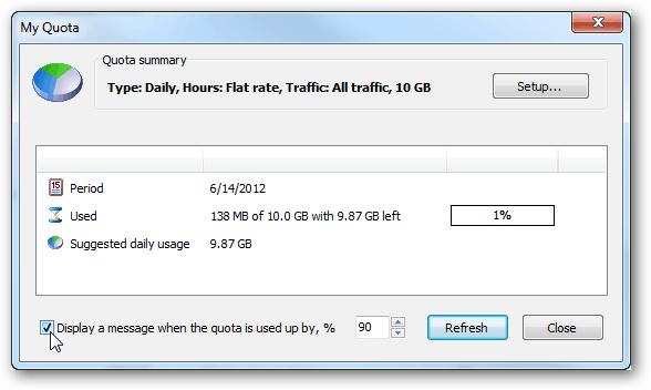 networx data usage notification