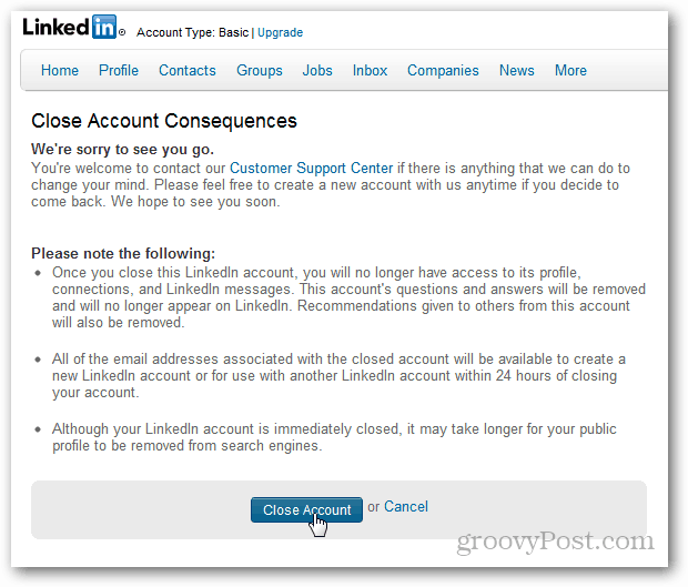 How to permanently delete your linkedin account close account confirmation again ccuart Image collections