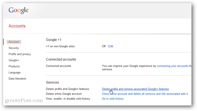 google accounts screen