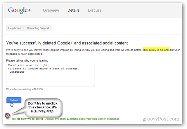 google plus account deletion confirmation