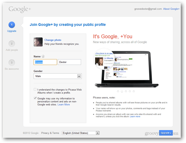 create a google plus account profile