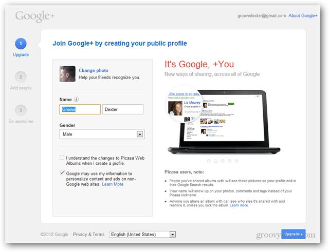 create a google plus account profile