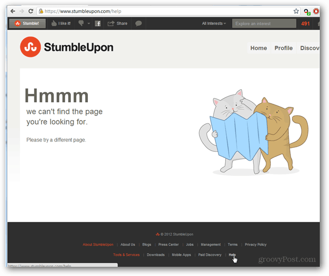 stumbleupon help center not found