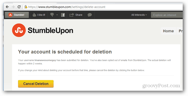 stumbleupon account scheduled for deletion