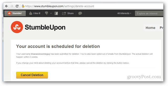 stumbleupon account scheduled for deletion