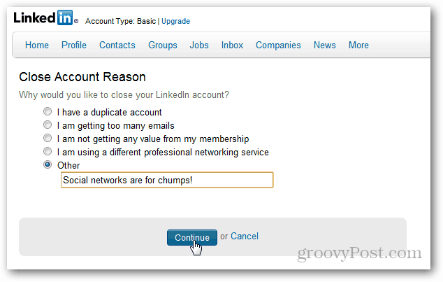 linkedin account reason deletion