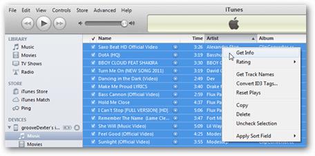 iTunes Get Info