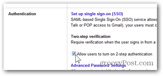 check box allow users to turn on 2-step authenticiation