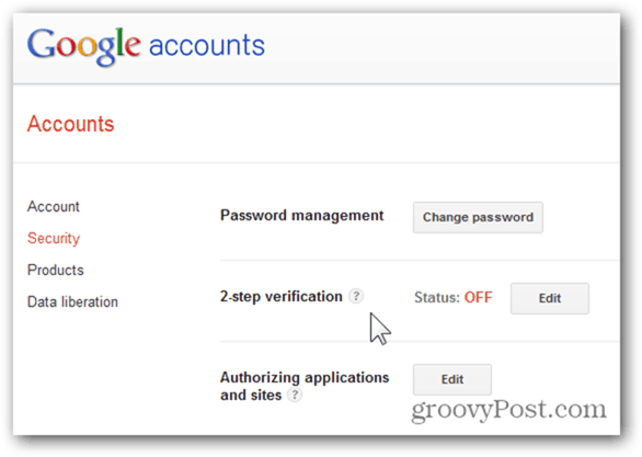 2-step verification available for google apps
