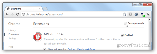 chrome extensions page