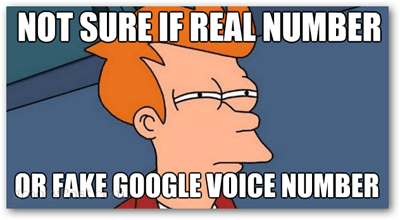not sure if real number or fake google voice number