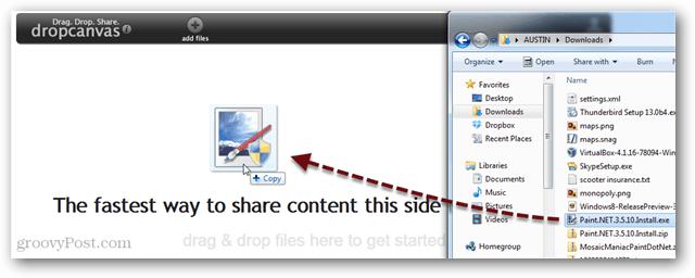 drag and drop file sharing