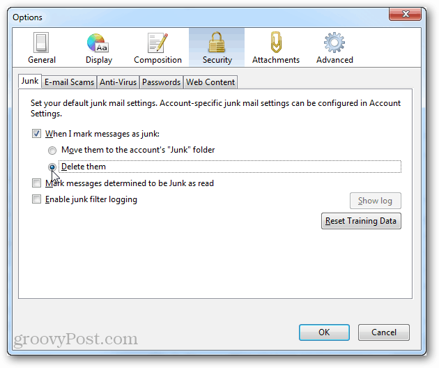options security junk when i mark messages as junk delete them