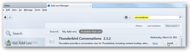 thunderbird conversations - install add-on via search page