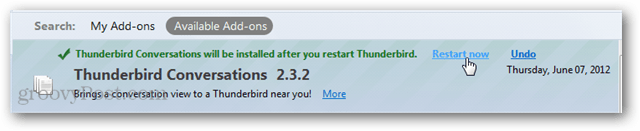 restart thunderbird after installing add-on