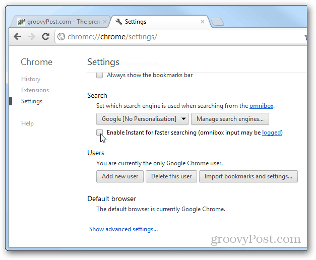 enable instant for faster searching chrome