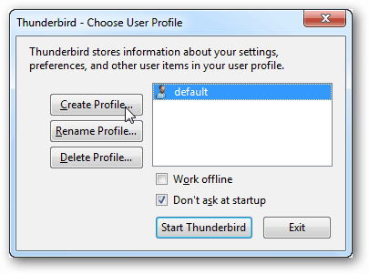 create a new thunderbird profile