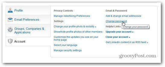 linkedin account change password