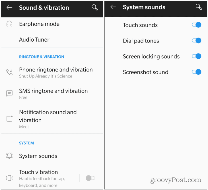 system sounds android