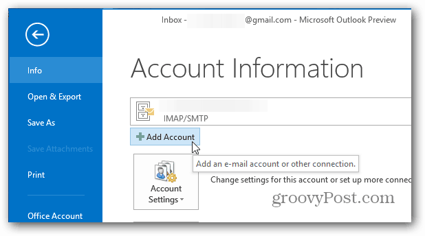 Add Account Outlook 2013
