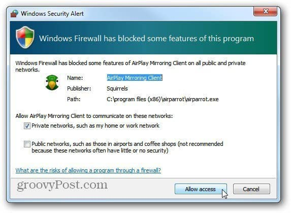 Allow Firewall Access