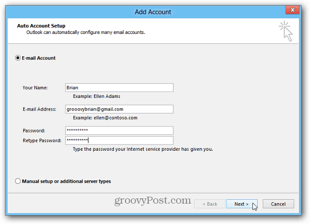 Enter Email Account Credentials