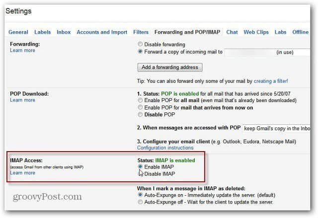 IMAP Gmail Settings
