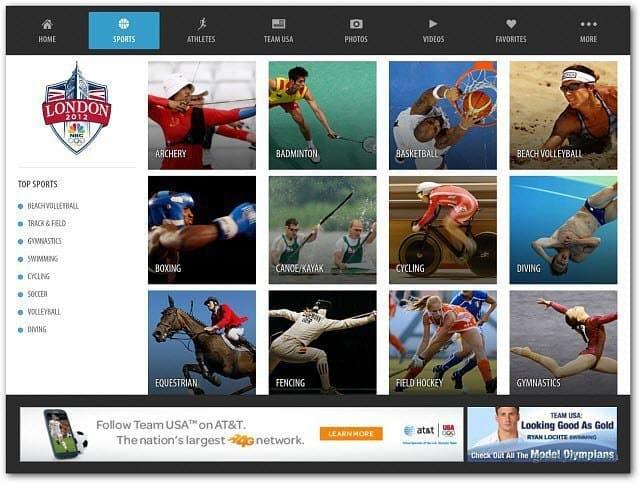 NBC Olympics App iPad
