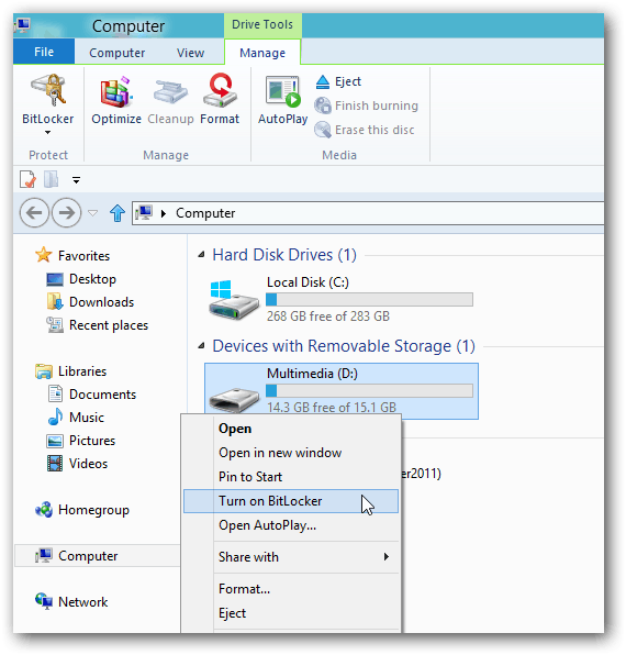 Turn on Bitlocker Context Menu
