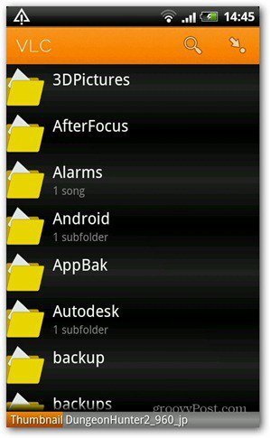 VLC Android beta directory view