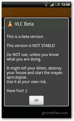 VLC Android beta start warning