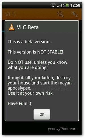 VLC Android beta start warning