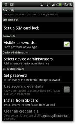 android pin code set up sim card lock