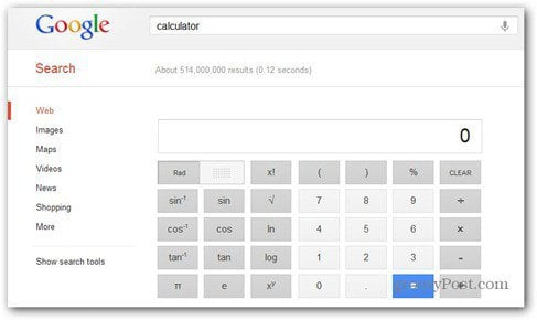google scientific calculator