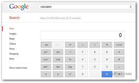 google scientific calculator