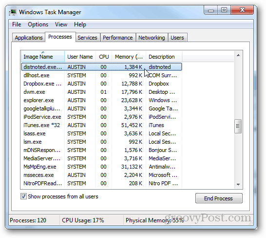 Why is Distnoted.exe in Task Manager?