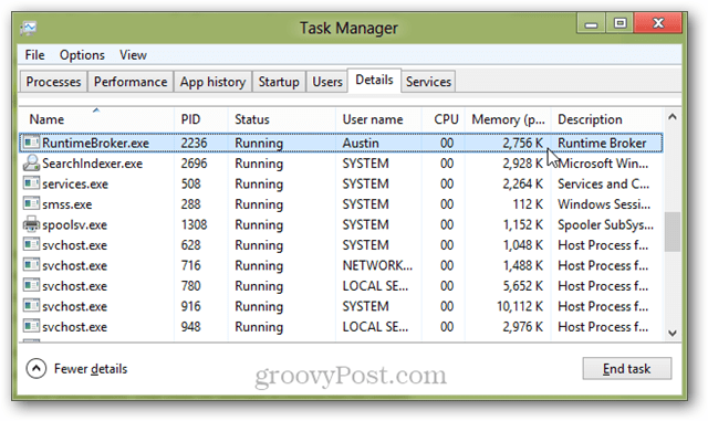 RuntimeBroker.exe running in the Windows 8 Task Manager