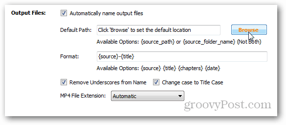 click browse to choose default path