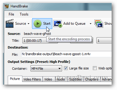 click start to begin transcoding