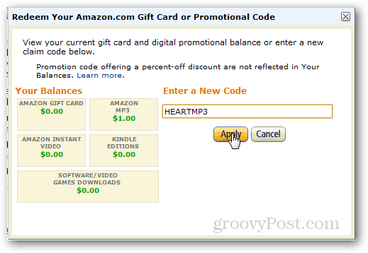 Enter amazon local redemption code