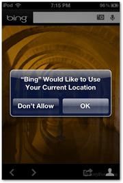 bing location services ios usage data allow ipod iphone microsoft